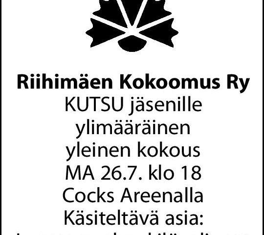 ● 26.7.2021 Riihimäen Kokoomus Ry ylimääräinen kokous